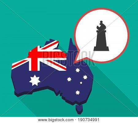 Long Shadow Australia Map With A Bishop    Chess Figure