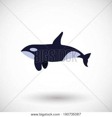 Killer whale vector flat icon Design of wild animal with round shadow isolated on the white background