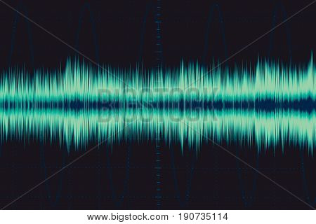 Electronic Wave. Sound Frequency Wave. Oscilloscope Digital Waveform Signal On Green Screen Illustra