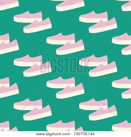 Slipon shoes pattern on the green background. Vector illustration