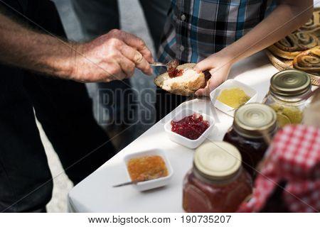 People Hands Holding Bread Testing Jam Taste