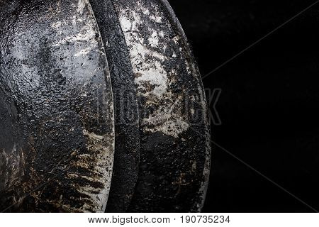 burn black pan. grunge grease dirty unhealthy food oil pan in the kitchen.