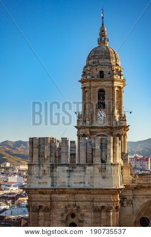 Closeup of Malaga Cathedral with unfinished tower, top view