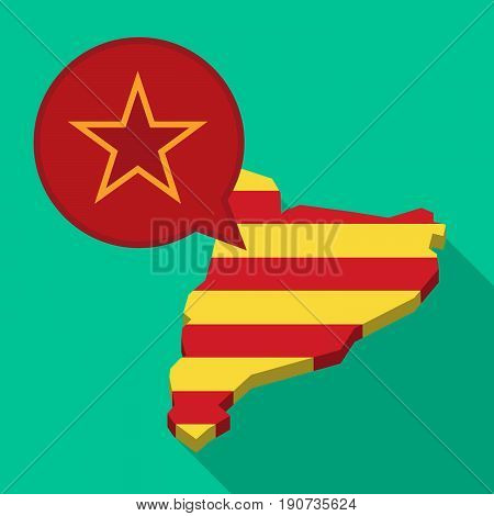 Long Shadow Catalonia Map With  The Red Star Of Communism Icon