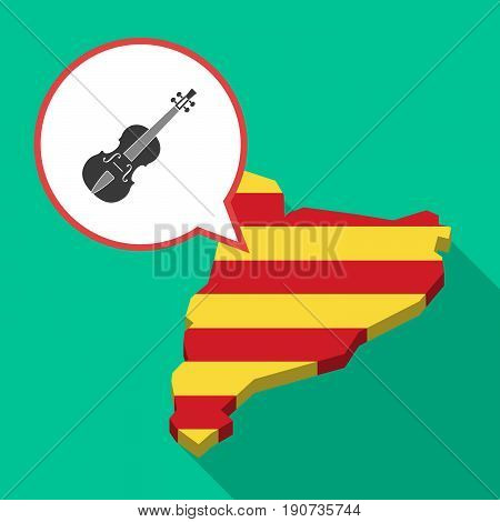 Long Shadow Catalonia Map With  A Violin