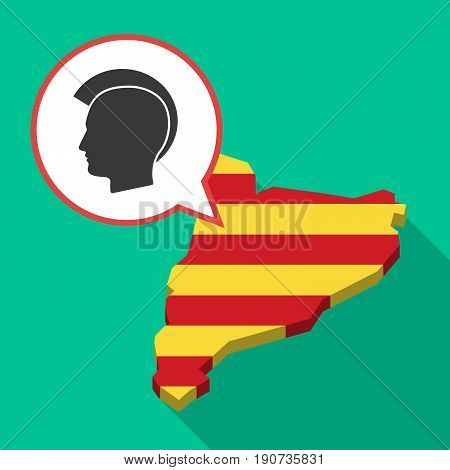 Long Shadow Catalonia Map With  A Male Punk Head Silhouette