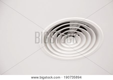 White Ceiling Air Duct With Dust In The Bathroom, Danger For Health And The Cause Of Pneumonia In Of