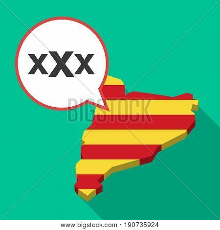 Long Shadow Catalonia Map With  A Xxx Letter Icon