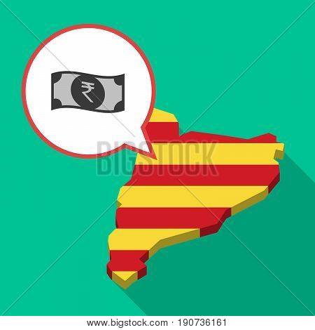 Long Shadow Catalonia Map With  A Rupee Bank Note Icon