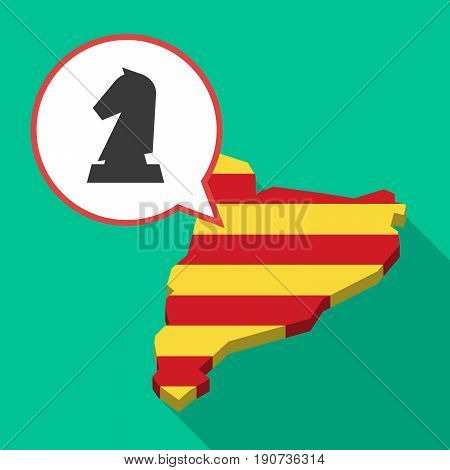 Long Shadow Catalonia Map With A  Knight   Chess Figure
