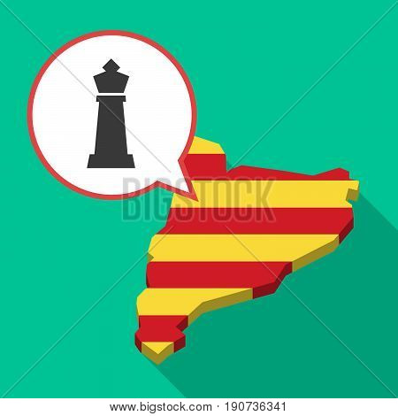 Long Shadow Catalonia Map With A  King   Chess Figure