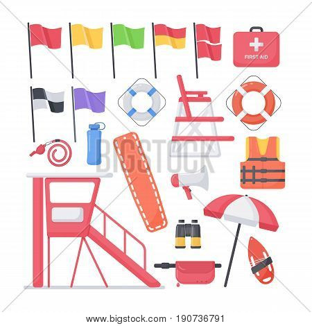 Lifeguard equipment flat vector icons set big set of design beach safety objects isolated on the white background vector illustration