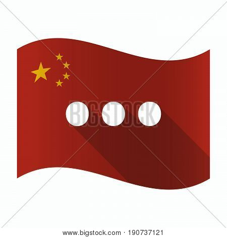 Waving China Flag With  An Ellipsis Orthographic Sign