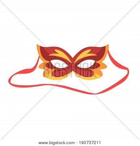 Red carnival mask, celebration party symbol cartoon vector Illustration isolated on a white background