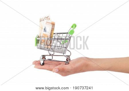 Fifty Euro In The Shopping Pushcart On The Hand, Isolated