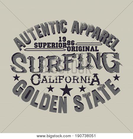 t-shirts surf LA Beach california surfing T-shirt inscription typography graphic design emblem