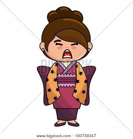 kawaii japanese girl wearing a kimono icon over white background colorful design vector illustration