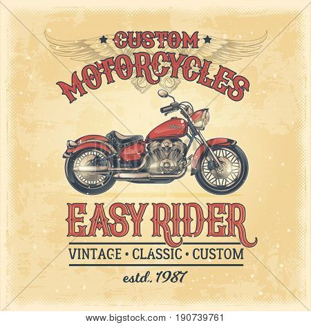 Vector color illustration of a vintage poster with a custom motorcycle. Print, template, advertising design element for the motor club, motorcycle repair shop