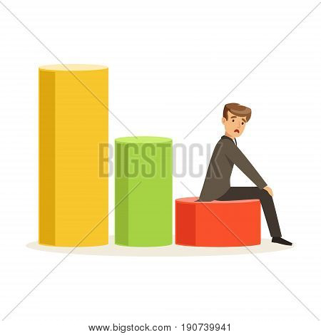 Frustrated businessman sitting on a graph down, unsuccessful character vector Illustration isolated on a white background
