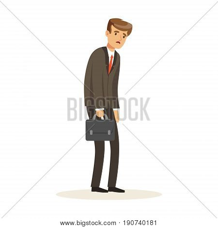 Failed and stressed businessman standing with briefcase, unsuccessful character vector Illustration isolated on a white background