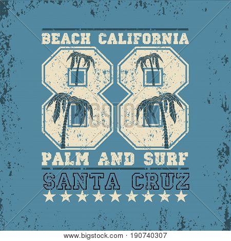Surfing California,  surfing santa kruz, water sports, T-shirt inscription typography, graphic design, emblem