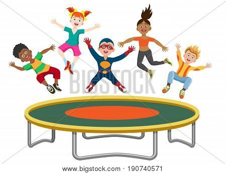 Energetic kids jumping on trampoline isolated on white background. Active happy girls and boys have fun gymnastic on the trampoline vector illustration