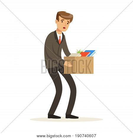 Sad businessman character leaving work vector Illustration isolated on a white background