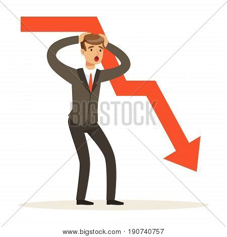 Frustrated businessman character and red graph going down, vector Illustration isolated on a white background