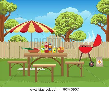 Summer backyard fun bbq or grilling barbecue party cartoon vector illustration. Home garden patio picnic lifestyle
