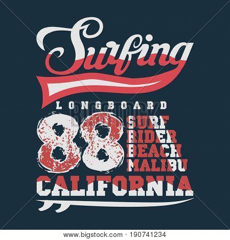 Surfing California, T-shirt  surfing malibu, water sports, T-shirt inscription typography, graphic design, emblem