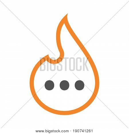 Line Art Flame With  An Ellipsis Orthographic Sign
