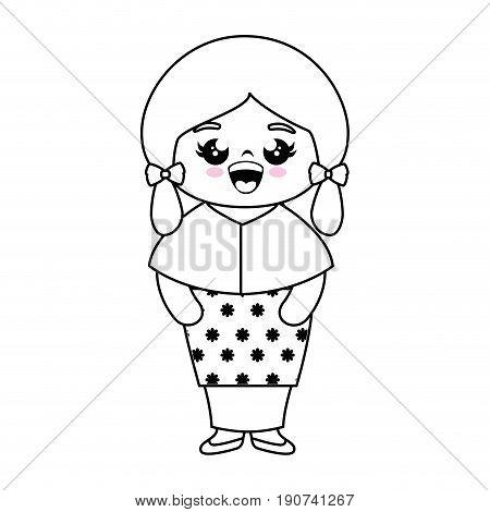 kawaii japanese girl wearing a kimono icon over white background vector illustration