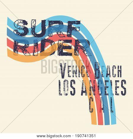 t-shirts surf rider, LA Beach, california surfing, T-shirt inscription, typography graphic design emblem