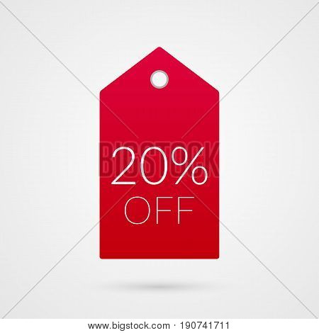 20 percent off shopping tag vector icon. Red and white isolated discount symbol. Illustration sign for sale advertisement marketing project business retail wholesale shop commerce finance