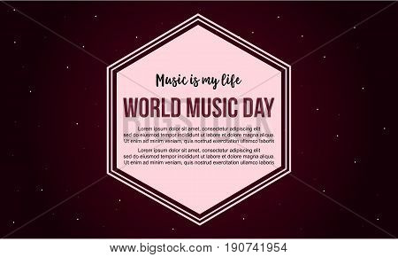 Celebration world music day banner style vector art