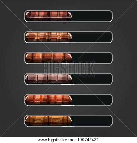 Set of chocolate bar downloader. Game resource bar. Vector illistration