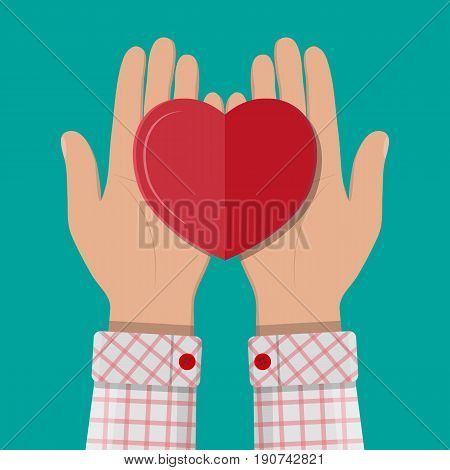 Hands holds and giving red heart. Concept of charity, love, sincerity, relationship. Vector illustration in flat style