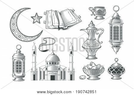 Set of vector muslim illustrations, icons for prayer and ramadan kareem in the style of engraving. Print, template, design element