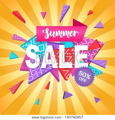 Summer Sale banner template for online shopping, mobile, website design. Social media promotional material, ads, email marketing, newsletter. Abstract geometric shapes, vector Illustration