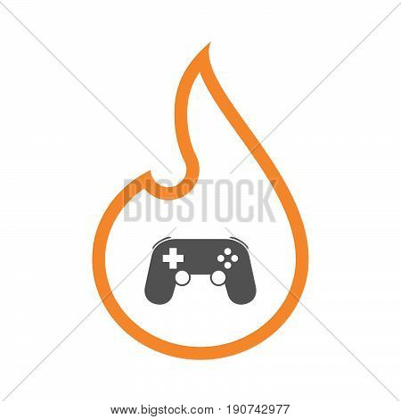 Line Art Flame With  A Game Pad