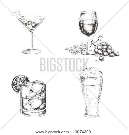 Hand drawn alchogol. Martini whiskey wine beer isolated