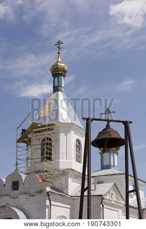Razdorskaya Rostov Region; Russia - June 04; 2017:Church of the Nativity of the Blessed Virgin in the village of Konygin (1879). Workers repair the roof