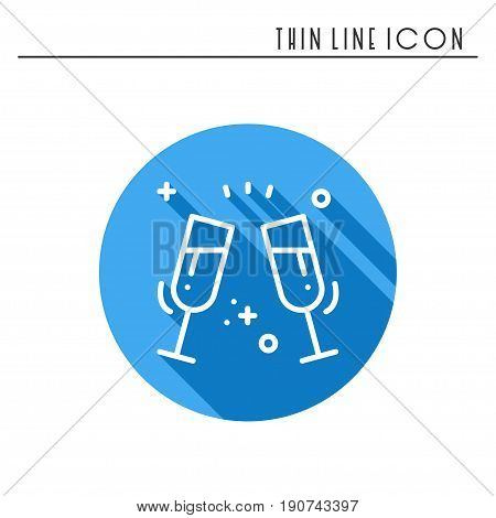 Two glasses, toast icon. Binge, drink, champagne, wine.Party celebration, birthday, holidays, event, carnival festive Thin line party element icon Vector simple linear design Illustration Symbols
