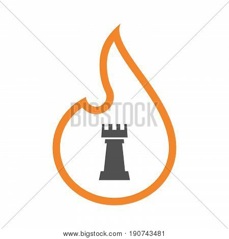 Line Art Flame With A  Rook   Chess Figure