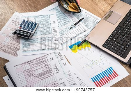 Tax Form, Money, Business Chart, Laptop And Calculator