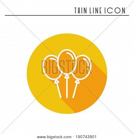 Balloon, air balloon icon. Party celebration, birthday, holidays, event, carnival festive. Thin line party element icon. Vector simple linear design. Illustration Symbols