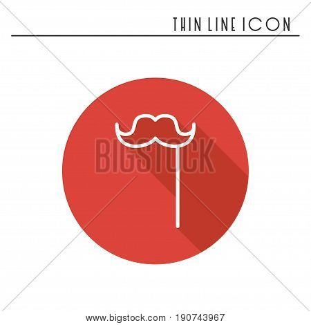 Stylish paper fake mustache on a stick line icon. Accessory mask. Party celebration masquerade birthday holidays event. Thin party element icon. Vector simple design. Illustration. Symbols pictogram