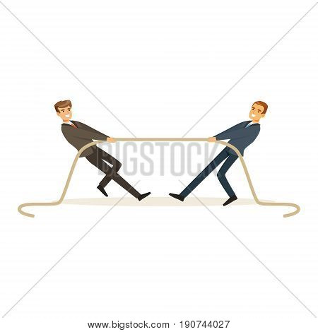 Two young business people playing tug war, business competition vector Illustration isolated on a white background
