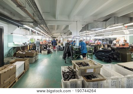 MOSCOW, RUSSIA - FEBRUARY 21, 2017: Moscow shoe factory JSC RALF RINGER. Shop processing of leather blanks.