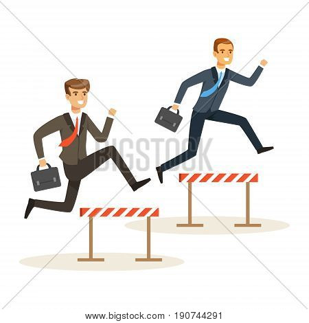 Two businessmen racing over hurdle obstacles, business competition vector Illustration isolated on a white background